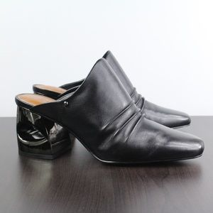 New H Halston Kelsey Leather Mules